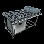 Fogao Industrial 6 bocas duplas 30X30 com banho maria e forno centro de cozinha