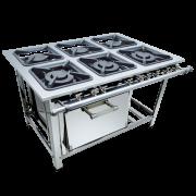 Fogão Industrial 6 bocas 30x30 com forno Aço Inox luxo Metalmaq