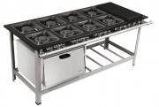 Fogão Industrial 8 bocas 40X40 com chapa e forno Metalmaq