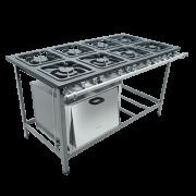Fogao Industrial 8 Bocas com Forno Grelhas 30X30 S2000 Metalmaq