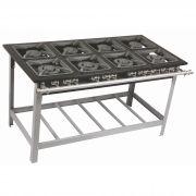 Fogão Industrial 8 Bocas Grelhas 50X50 P 9 CM Queimadores Duplos Metalmaq - Centro de Cozinha