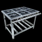 Fogão Industrial Aço Inox 6 bocas 40X40 Central Metalmaq