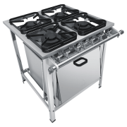 Fogão Industrial 4 bocas com forno grelhas 30X30 S2020 aço inox Metalmaq