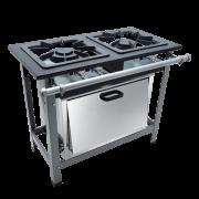 Fogão Industrial 2 bocas 40X40 com forno Metalmaq