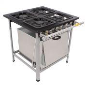Fogão Industrial 4 Bocas com forno grelhas 30X30 Metalmaq