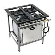 Fogão Industrial 4 bocas com forno grelha 30X30 alta pressão Metalmaq