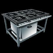 Fogão Industrial 6 bocas com forno 40x40 Metalmaq | Temperare
