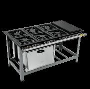 Fogão Industrial 6 bocas grelhas 30X30 com chapa e forno M23 S2000 Metalmaq