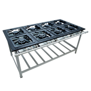 Fogão Industrial 8 bocas 40X40 queimadores meio a meio Metalmaq