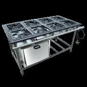 Fogão Industrial 8 bocas 30X30 com forno alta pressão Metalmaq