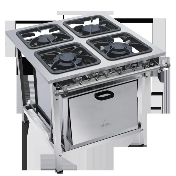 Fogão Industrial 4 bocas aço inox 430 com forno grelhas 30x30 Metalmaq