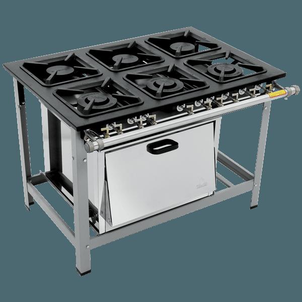 Fogão Industrial 6 bocas com forno grelhas luxo Metalmaq