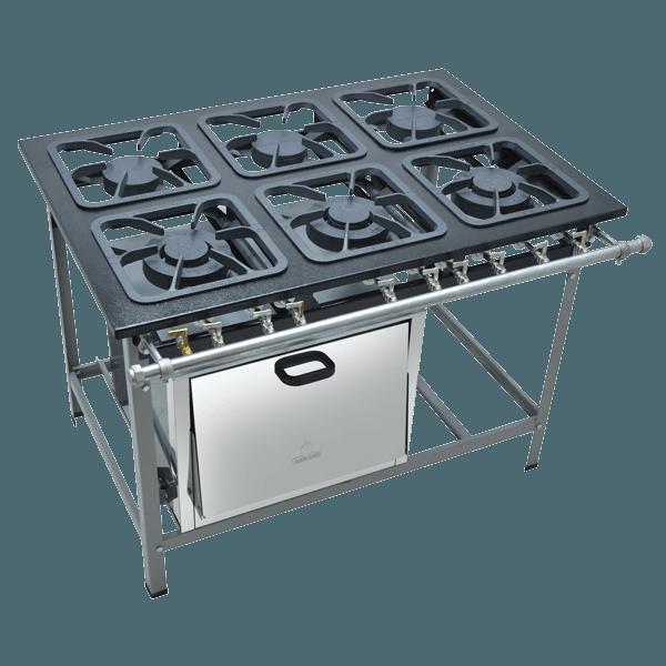 Fogão Industrial 6 bocas com forno grelhas 30X30 S2000 Metalmaq