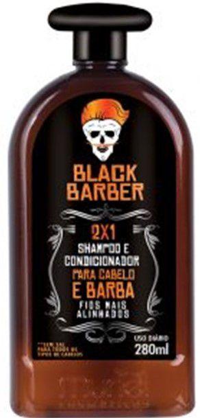 Shampoo e condicionador 2X1 para cabelo e barba black barber Muriel 280ml