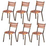 Conjunto 6 Cadeiras Colorado em Tecido Tubulares Gol
