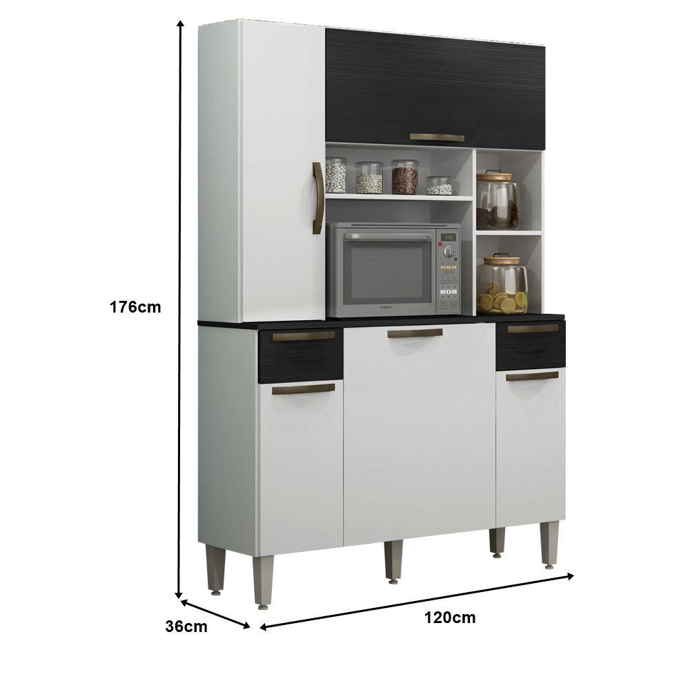 Armário de Cozinha 5 Portas 2 Gavetas Safira - Sallêto Móveis