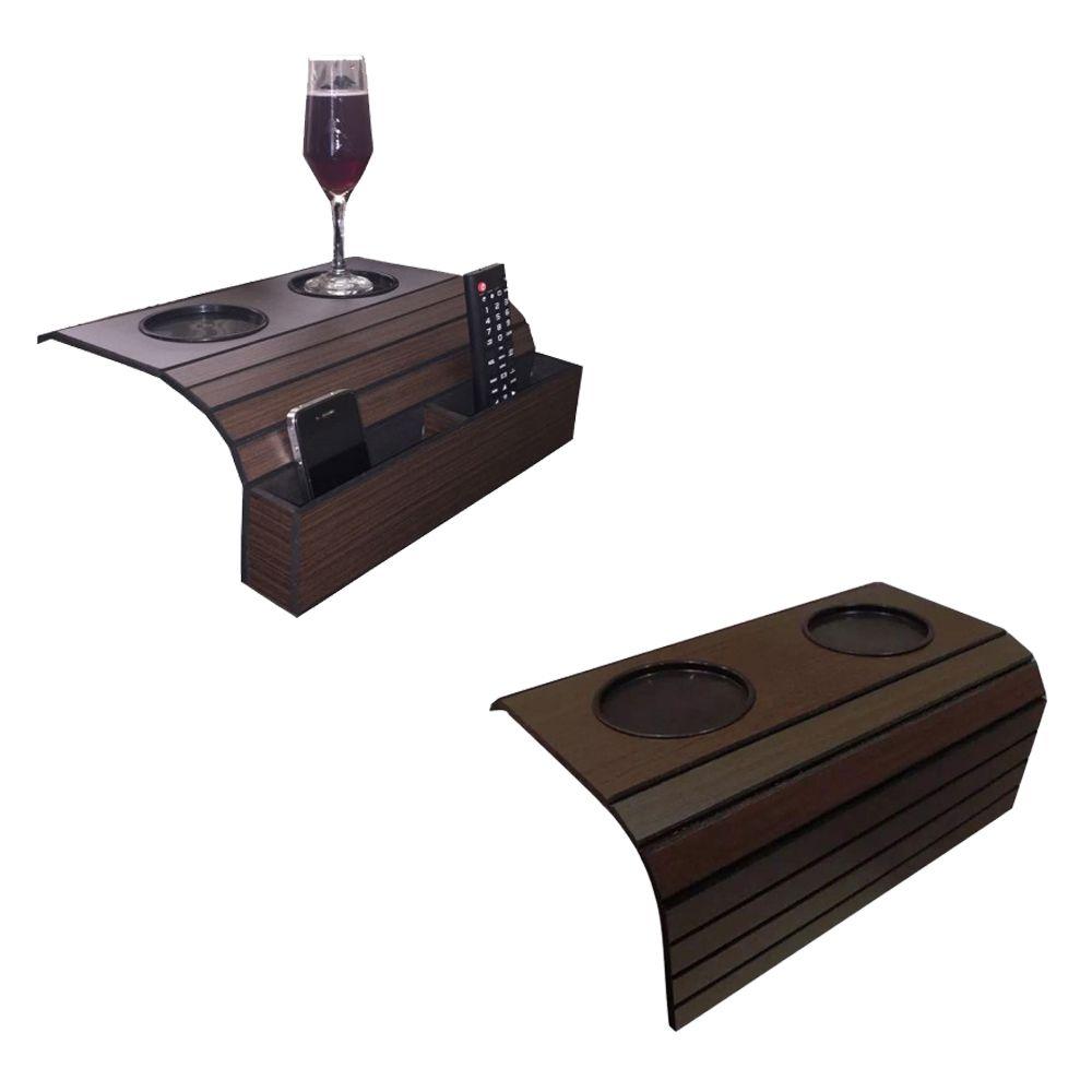 Bandeja Porta Copo para Sofá Kit com 1 Porta Controle e 1 Tradicional Tabaco