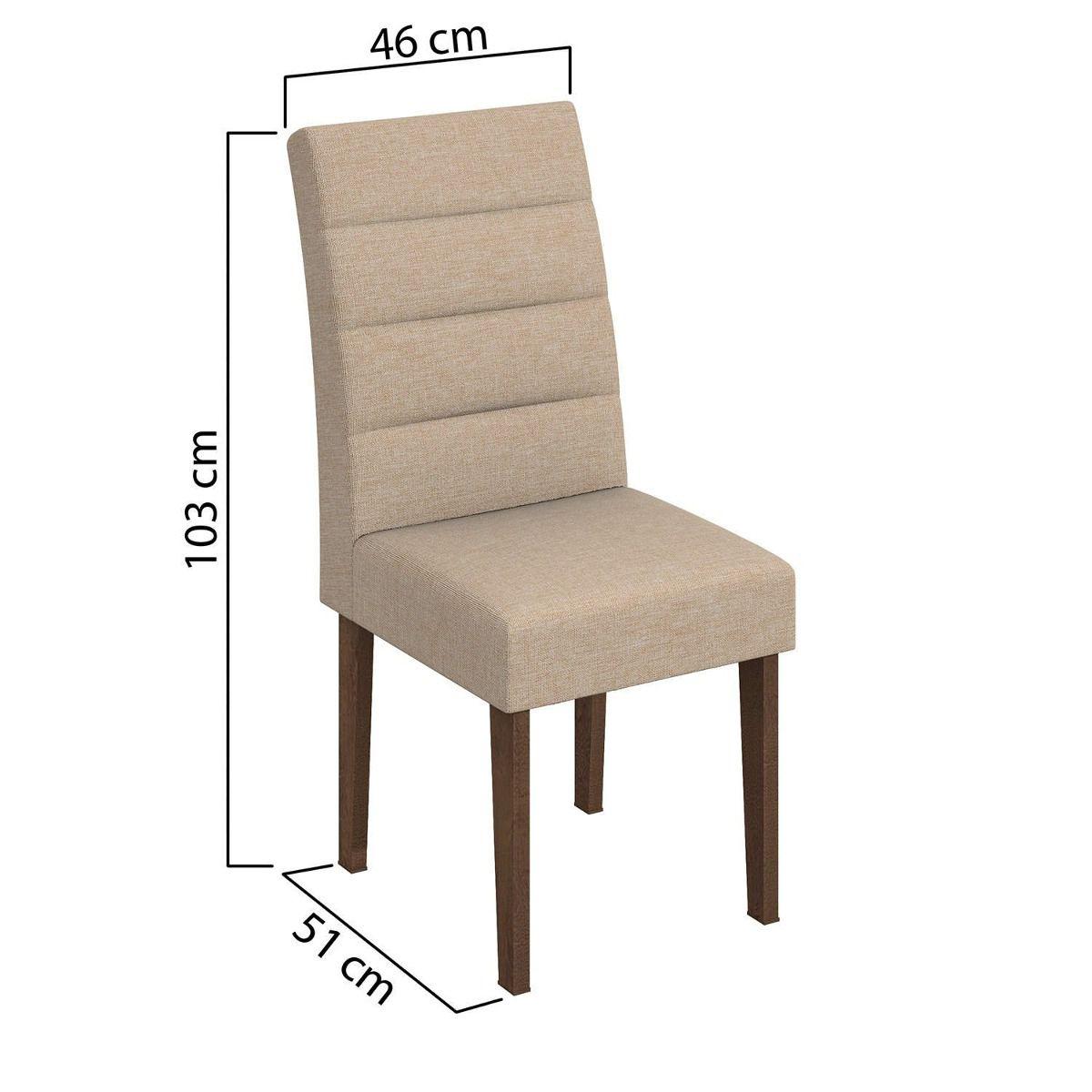 Conjunto 2 Cadeiras Fiorella Linho Bege Lopas