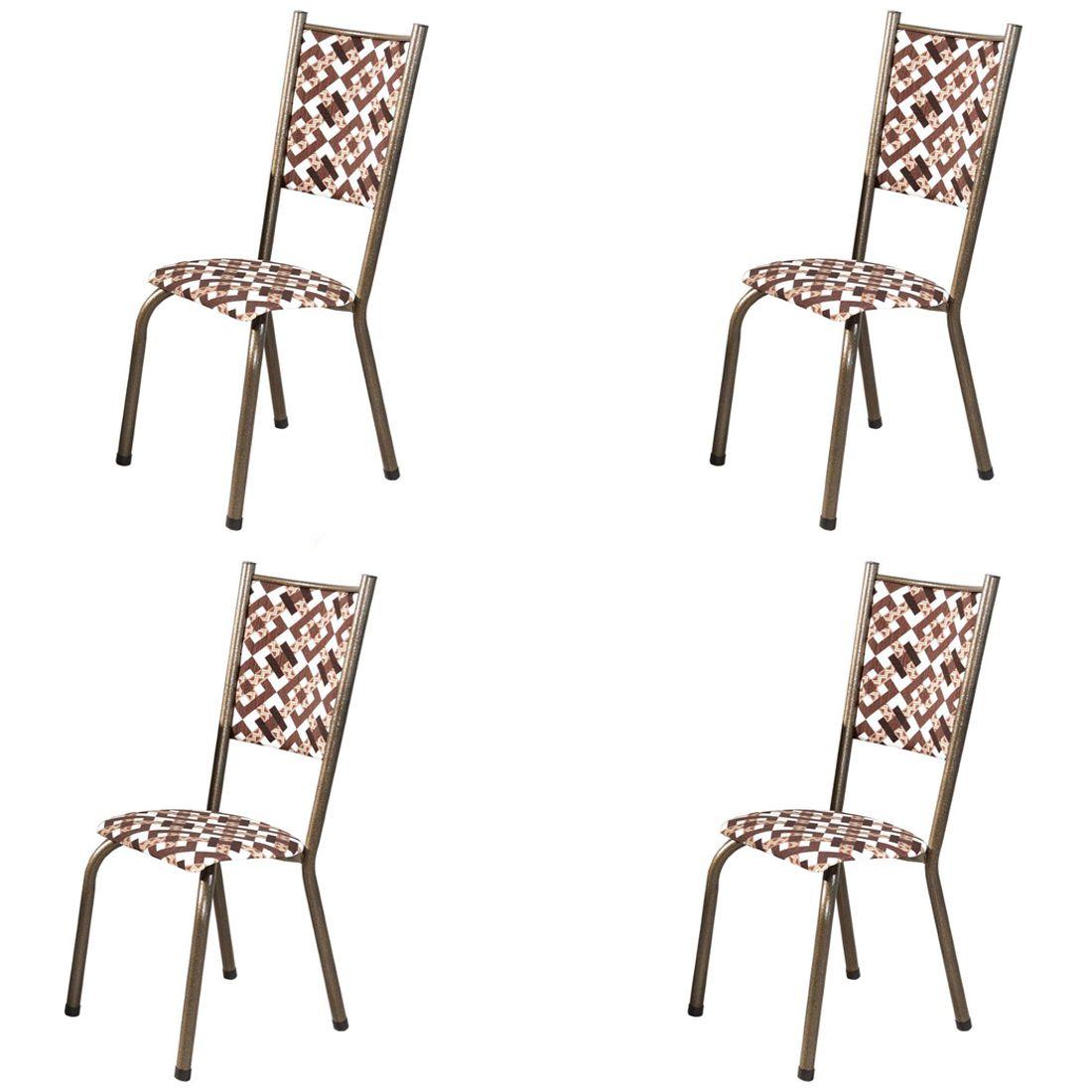 Conjunto 4 Cadeiras Ametista em Tecido Tubulares Gol