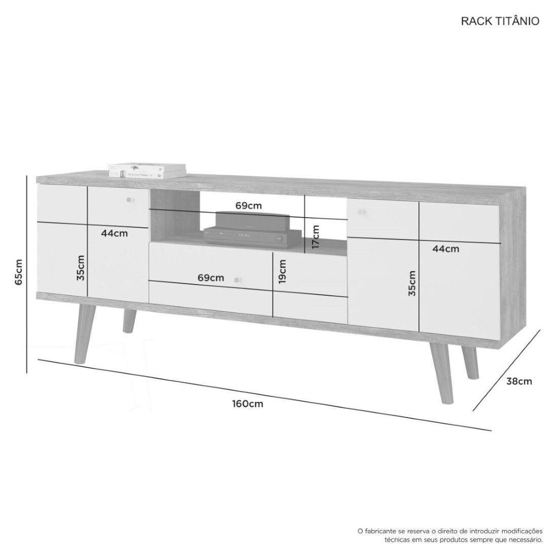 Conjunto Retrô Rack/Painel Titânio 60'' JCM Movelaria