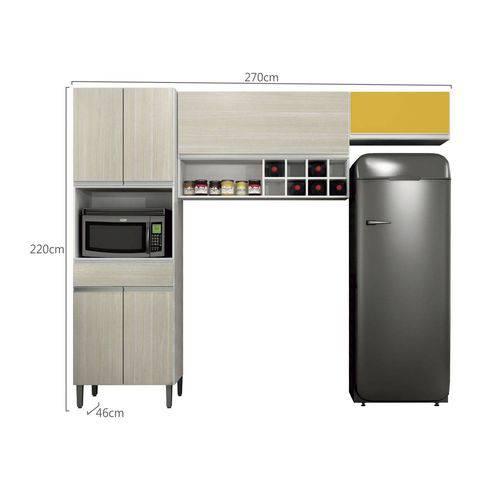 Cozinha Compacta Carrara 3 Peças com Nicho e Adega Sallêto