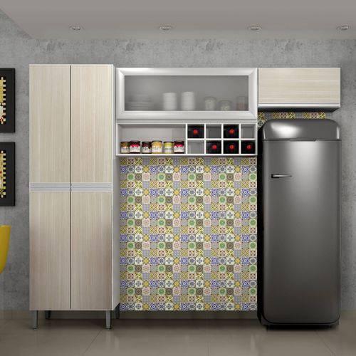 Cozinha Compacta Florença 3 Peças Nicho Adega Vidro Sallêto