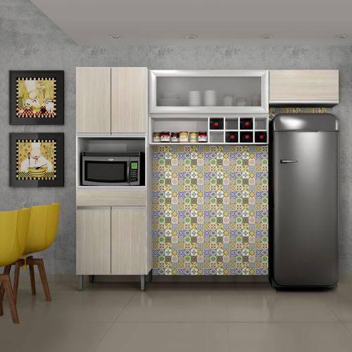 Cozinha Compacta Carrara com Porta em Vidro 3 Peças Sallêto