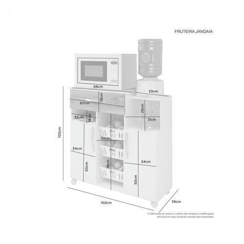 Fruteira Jandaia - 2 Portas, 3 Cestos e Nichos - JCM Movelaria