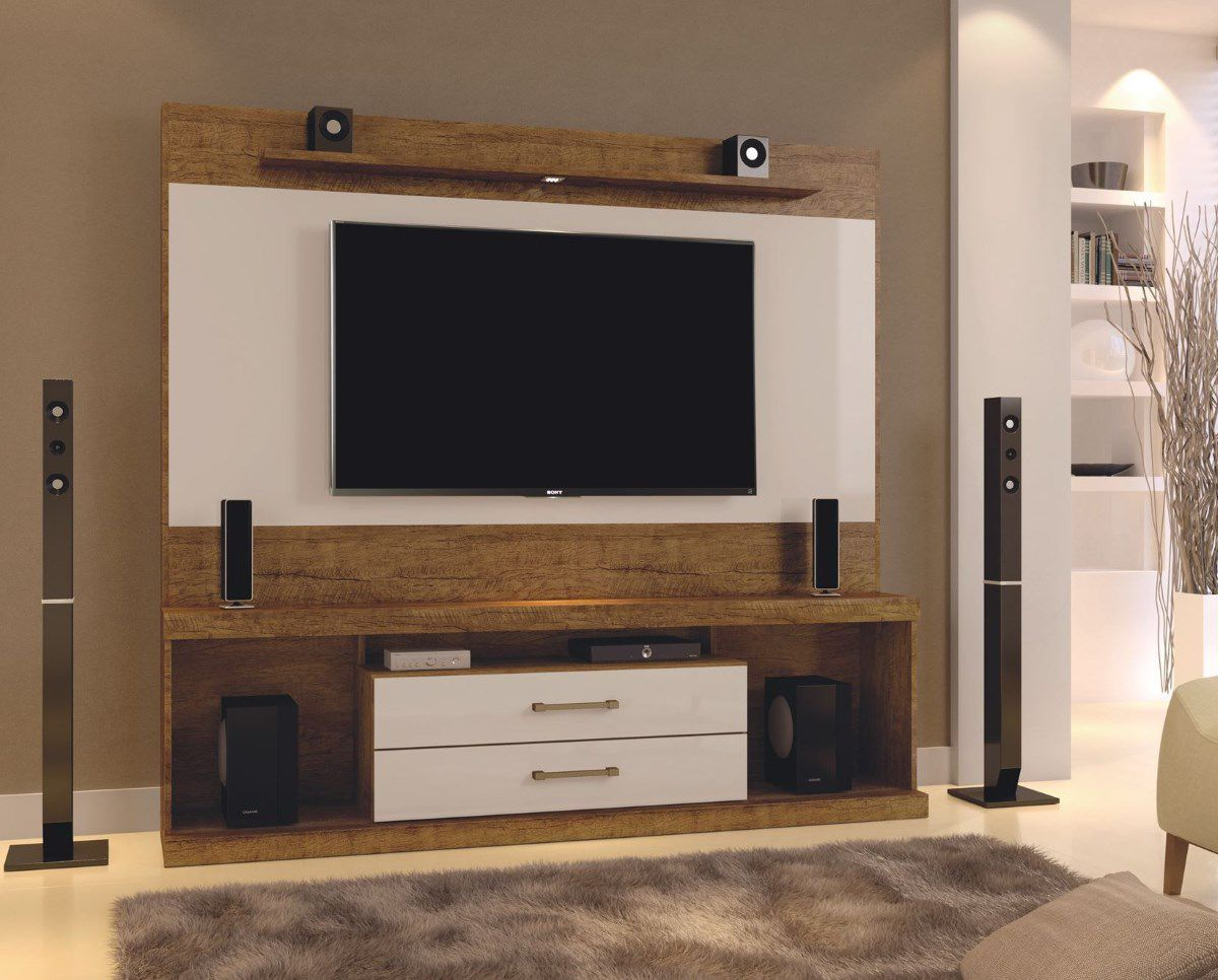 """Home Montenegro para TV até 65"""" com LED e 2 gavetas Mavaular"""