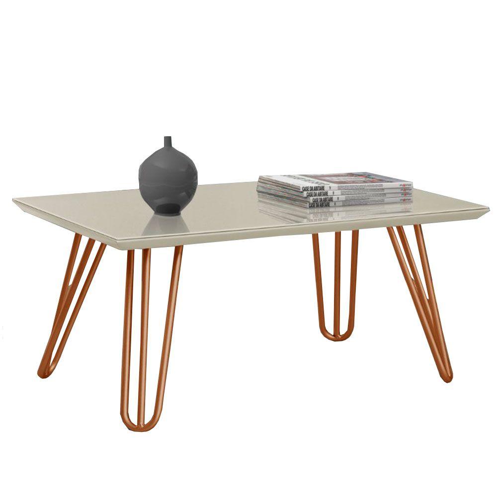 Mesa de Centro Siena Pé Bronze C&M Decor