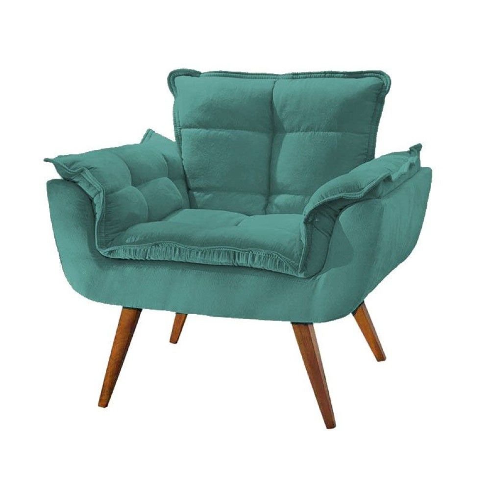 Poltrona Opalla - Azul Tiffany, 01 lugar, Base Palito imbuia