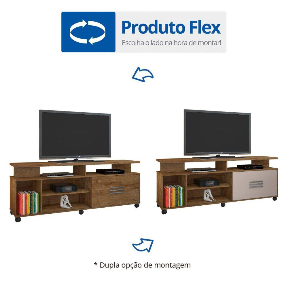 Rack Para Tv C/ 1 Porta E Prateleira Bario Jcm Movelaria