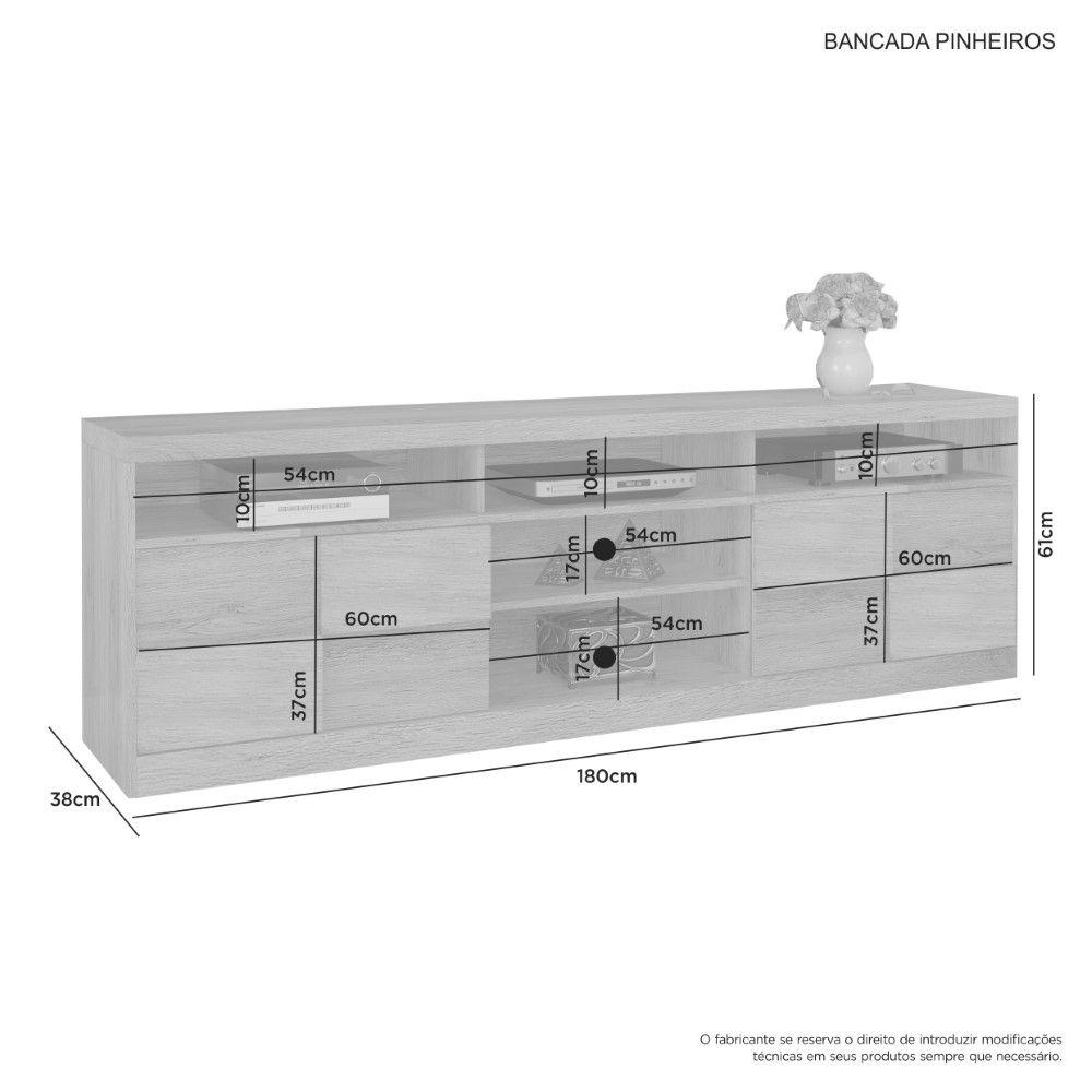 Rack Pinheiros Tv até 60 Polegadas 2 Portas JCM Moveilaria