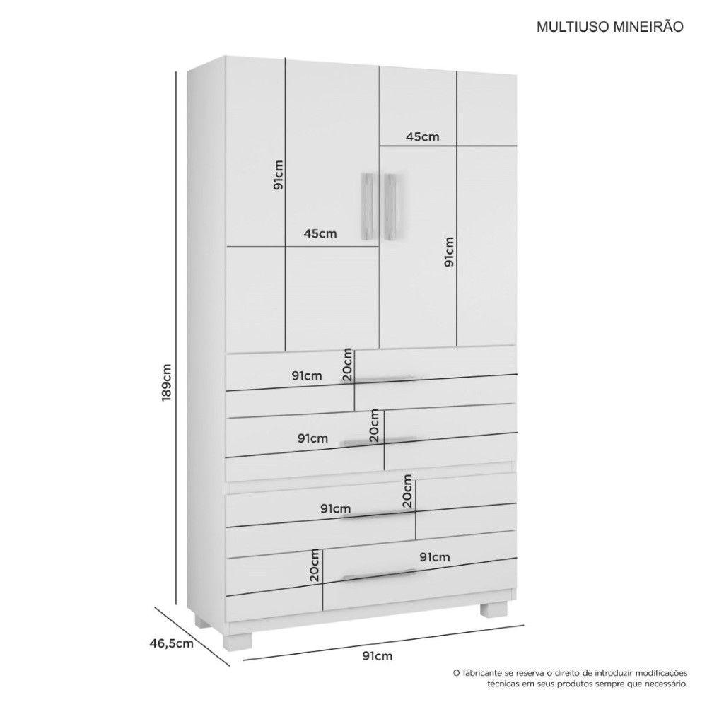 Roupeiro Multiuso Mineirão 2 Portas 4 gavetas - Jcm Movelaria