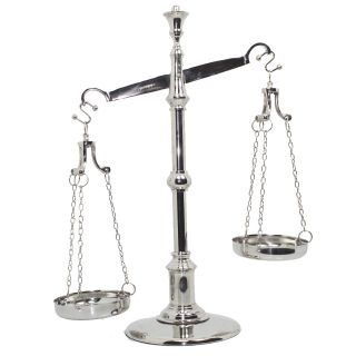 Balança Prateada Luxo p/ Decoração Simbolo da Justiça