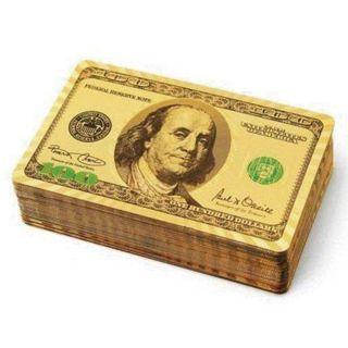 Baralho Dourado a Prova D'água Benjamin Franklin  N°1 com 52 cartas