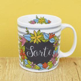 Caneca de Porcelana Criativa a Flores e Sorte 300ML