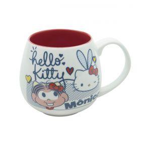 Caneca Porcelana Hello Kitty Turma da Monica Bulging Oficial 300ml