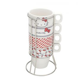 Conjunto de Xícaras Cerâmica Cappuccino Hello Kitty 200ml c/5 Peças