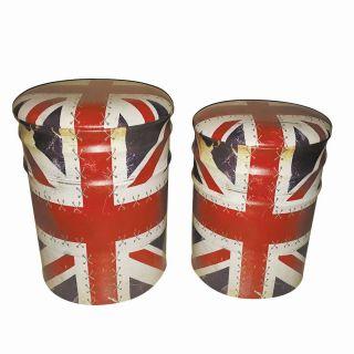 Conjunto Puff Baú Mod. Bandeira Inglesa