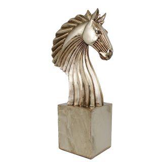 Estatua p/ Decoração Luxo Chess Busto Grande Cavalo Rose Gold