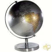 Globo Terrestre Gold e Silver edição Luxo Base Cromada Português 30cm