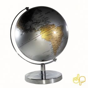 Globo Terrestre Gold e Silver edição Luxo Base Cromada Português