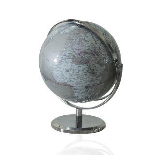 Globo Terrestre Silver e Blue edição Luxo Base Cromada Português 360°