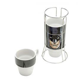 Jogo de 4 Xícaras c/Suporte Batman Face Cappuccino WB Oficial 225ML
