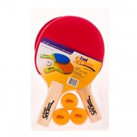 Kit 2 Raquetes + 3 Bolinhas para Ping Pong Belfix