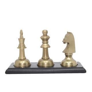 Kit Decoração Chess Gold - Cavalo, Rainha e Rei em Alumínio Base de Madeira