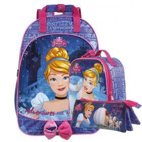 Kit Mochila Escolar Cinderela Disney + Lancheira + Estojo
