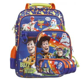 Kit Mochila Escolar Toy Story 4 - Buzz & Woody Disney + Lancheira + Estojo