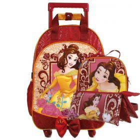 Kit Mochilete Escolar 360º Princesa Bela Disney + Lancheira + Estojo